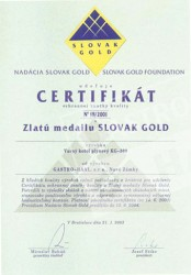 Gold meadal SLOVAK GOLD 2001